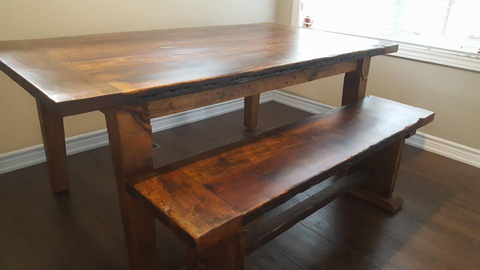 reclaimed wood and epoxy harvest farm table with tapered legs and trestle bench 3 orig